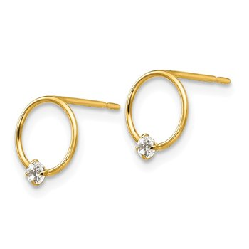 14k Madi K CZ Children's Circle Post Earrings