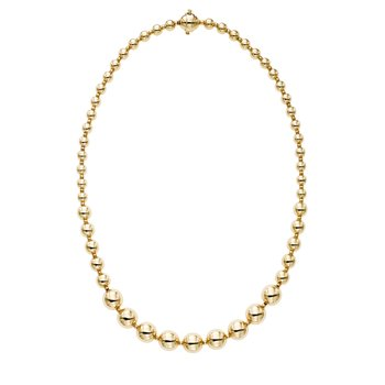 14K Gold Polished Graduated Bead Necklace