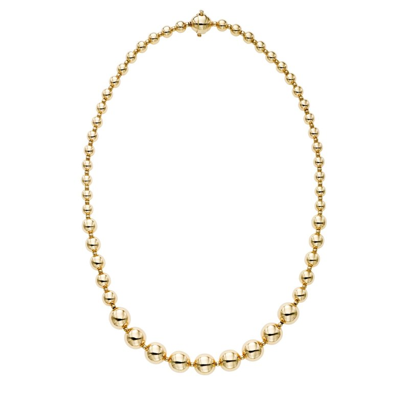Royal Chain 14K Gold Polished Graduated Bead Necklace