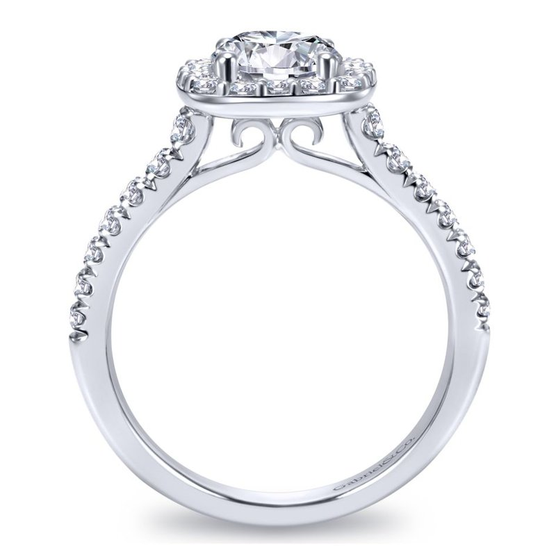 Gabriel Bridal Bestsellers 14K White Gold Cushion Halo Round Diamond Engagement Ring