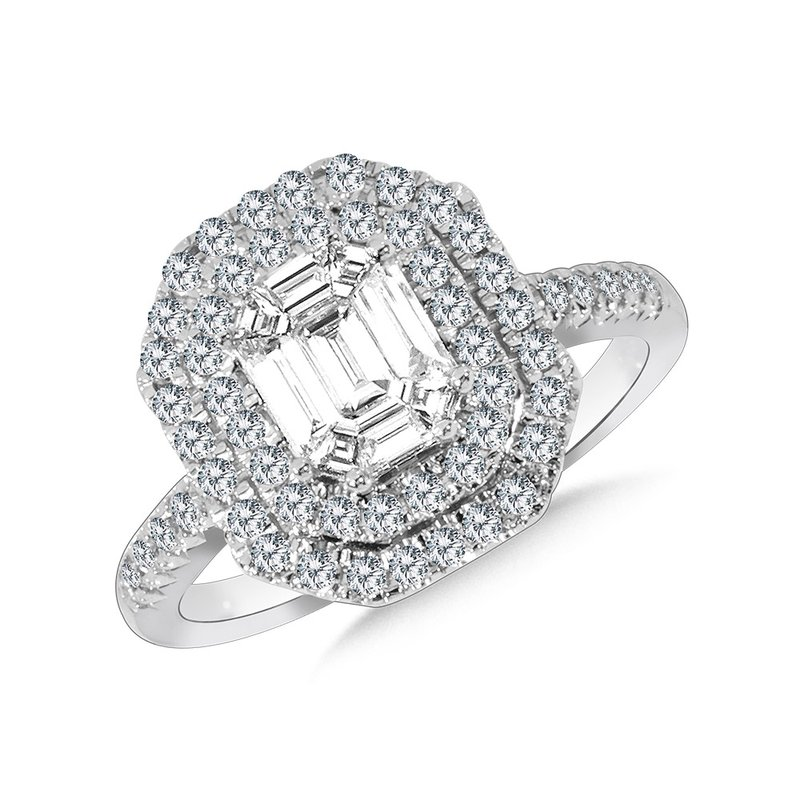 SDC Creations Hexagonal Plumb Collection Double-Halo Cluster Diamond Ring