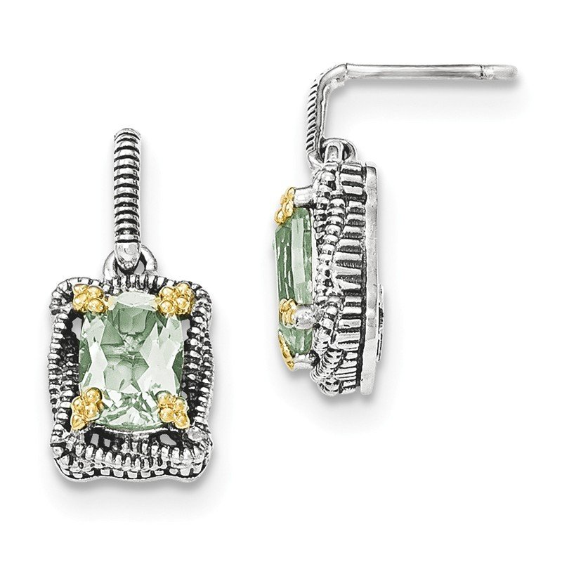 Shey Couture Sterling Silver w/14k Green Quartz Dangle Post Earrings