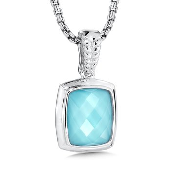 Sterling Silver Turquoise and White Quartz Fusion Pendant