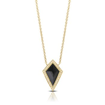 Gatsby Onyx Halo Necklace 18KY
