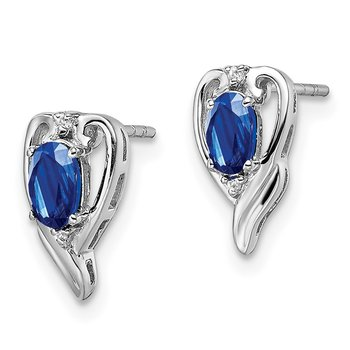Sterling Silver Rhodium Plated Diamond & Sapphire Post Earrings