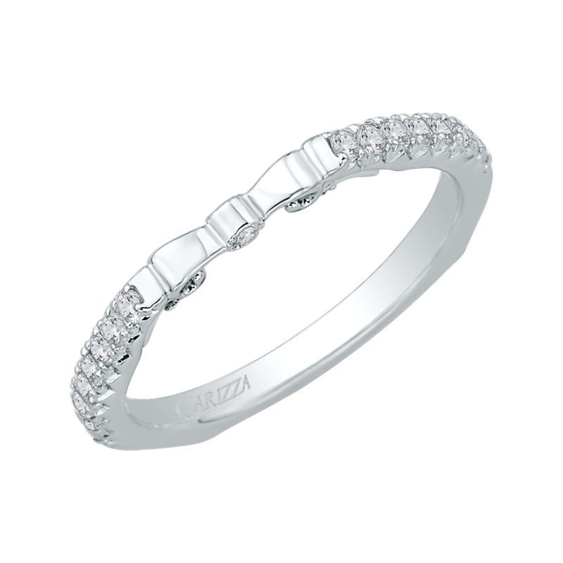 Carizza 14K White Gold Round Diamond Wedding Band with Euro Shank