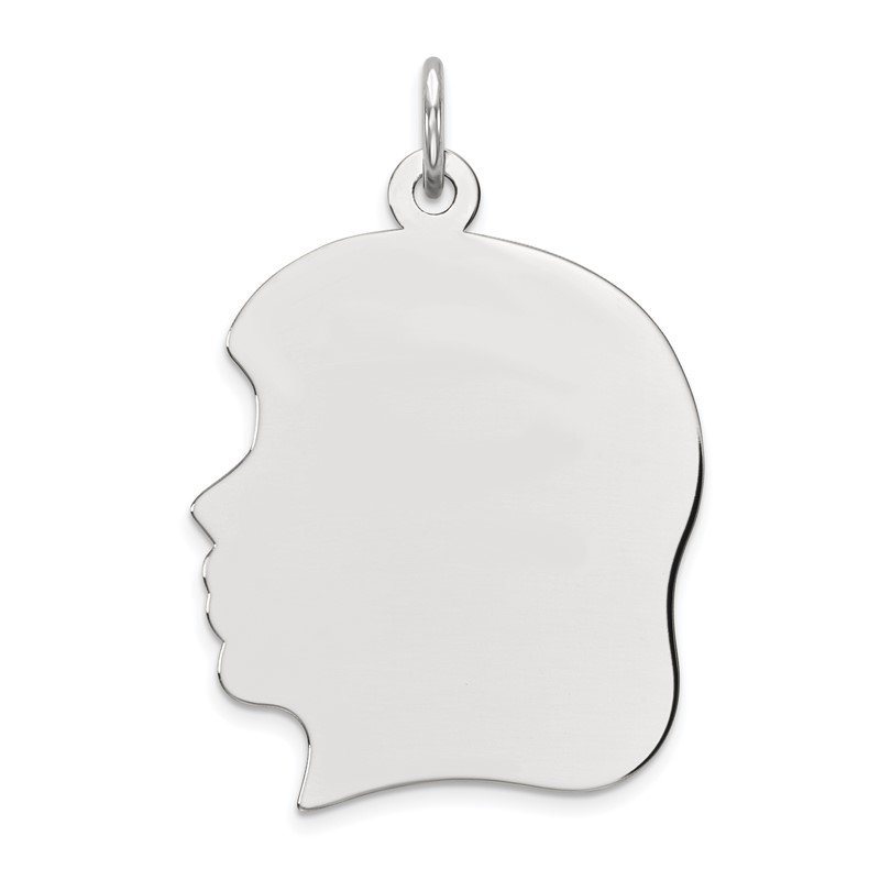 Quality Gold Sterling Silver Rhod-plate Eng. Girl Polished Front/Satin Back Disc Charm
