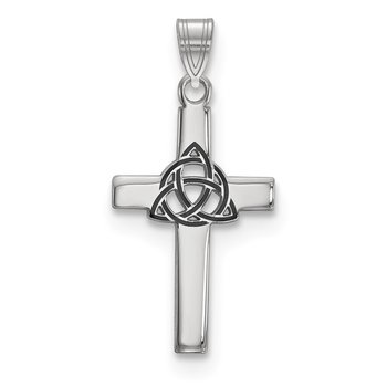 Sterling Silver Rhodium-plated Black Enameled Trilogy Cross Charm