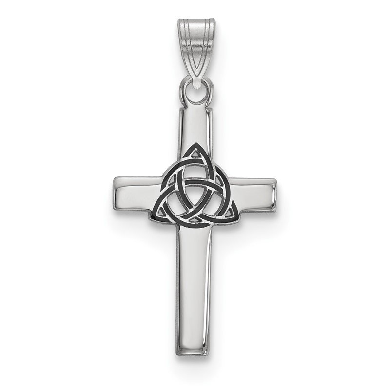Quality Gold Sterling Silver Rhodium-plated Black Enameled Trilogy Cross Charm