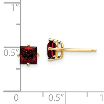 14k 5mm Princess Cut Garnet Earrings