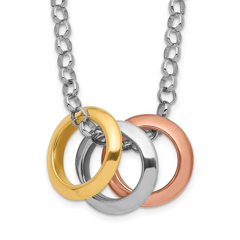 Quality Gold Sterling Silver Rhodium, Rose and Gold-plated 3-Circle Necklace