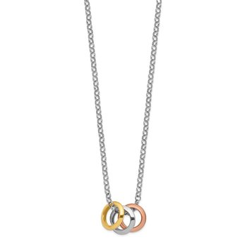Sterling Silver Rhodium, Rose and Gold-plated 3-Circle Necklace