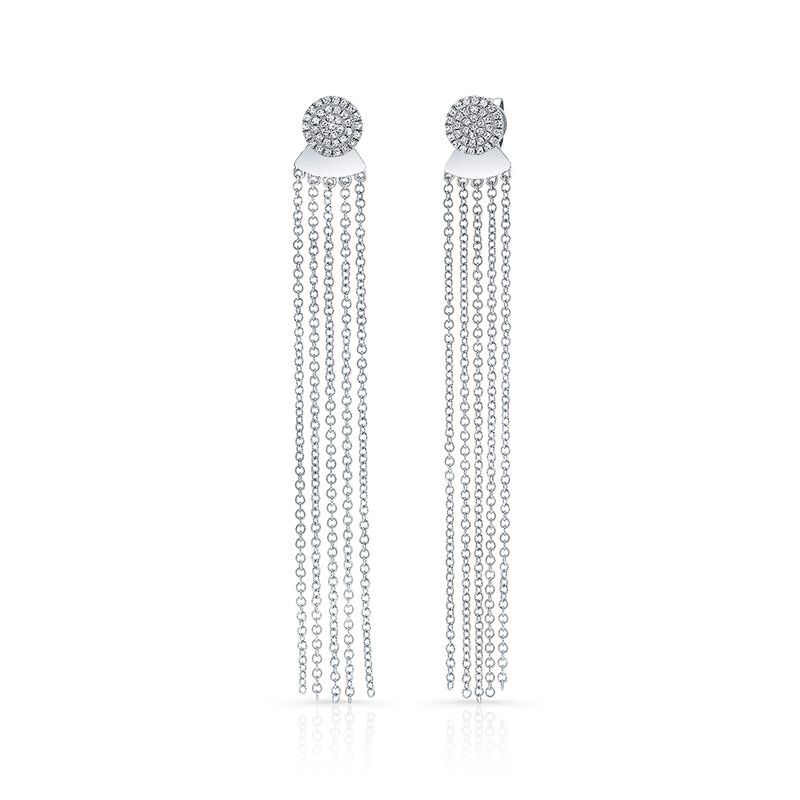 White Gold Disc Earrings With Dangling Tassel Backing