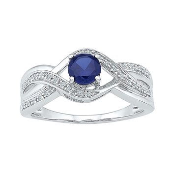 Sterling Silver Womens Round Lab-Created Blue Sapphire Solitaire Ring 7/8 Cttw
