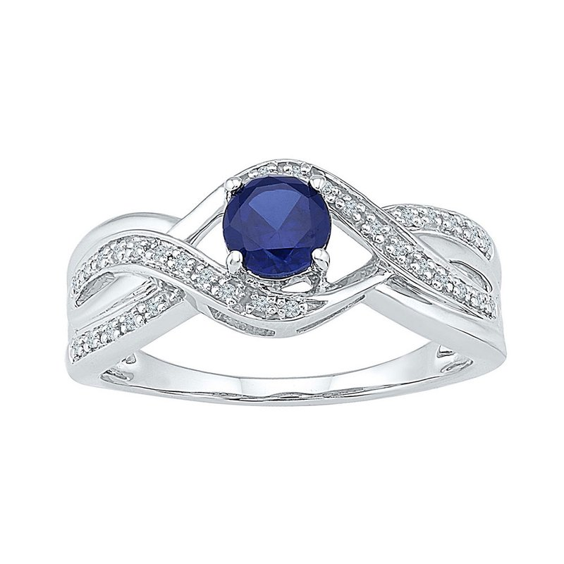 Gold-N-Diamonds Sterling Silver Womens Round Lab-Created Blue Sapphire Solitaire Ring 7/8 Cttw