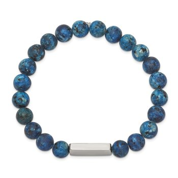 Stainless Steel Polished ID Plate Lapis Bead Stretch Bracelet