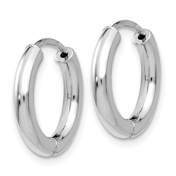 14K White Gold Polished Hollow Hinged Hoop Earrings