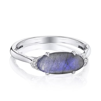 Solitaire Oval Gem Ring with Labradorite