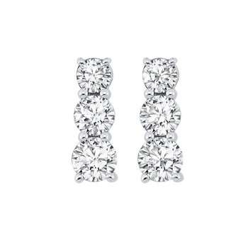 3 Stone Prong Set Diamond Earrings in 14K White Gold (1 ct. tw.)
