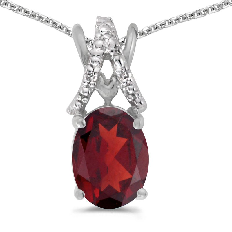 Color Merchants 14k White Gold Oval Garnet And Diamond Pendant