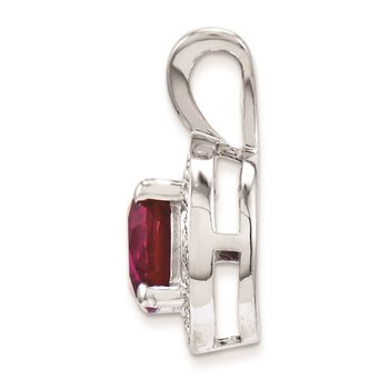 Sterling Silver Rhodium-plated Diam and Created Ruby Pendant