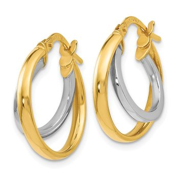 Leslie's 14k Two-tone Polished Double Hinged Hoop Earrings