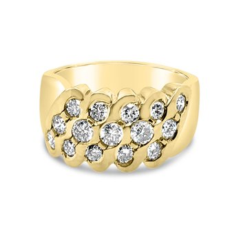 18K Yellow Gold Diamond Wide Retro Fashion Band