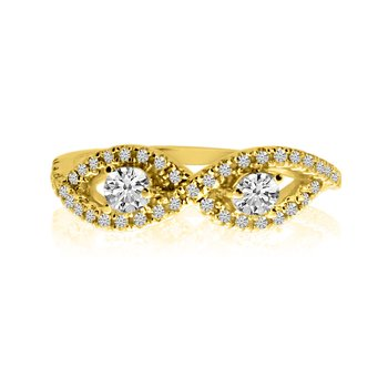14K Yellow Gold Infinity Two-Stone Diamond Ring