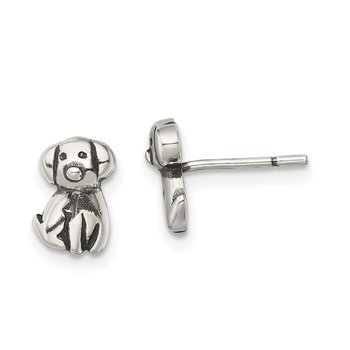 Sterling Silver Antiqued Dog Post Earrings