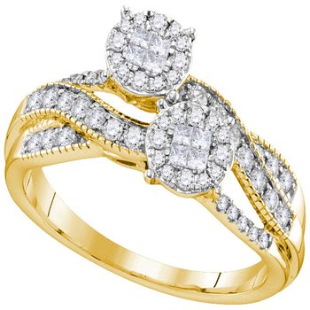 14kt Yellow Gold Womens Princess Round Diamond Soleil Cluster Bridal Wedding Engagement Ring 1/2 Cttw
