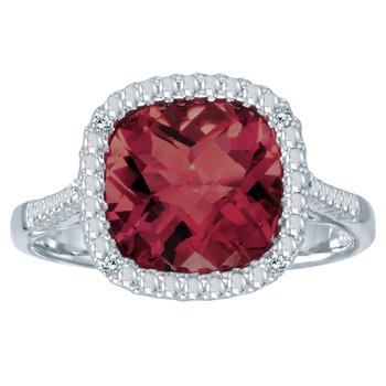 14k White Gold Cushion Cut Garnet And Diamond Ring