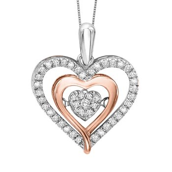Silver & 10K Rose Gold Diamond Rhythm Of Love Pendant 1/5 ctw