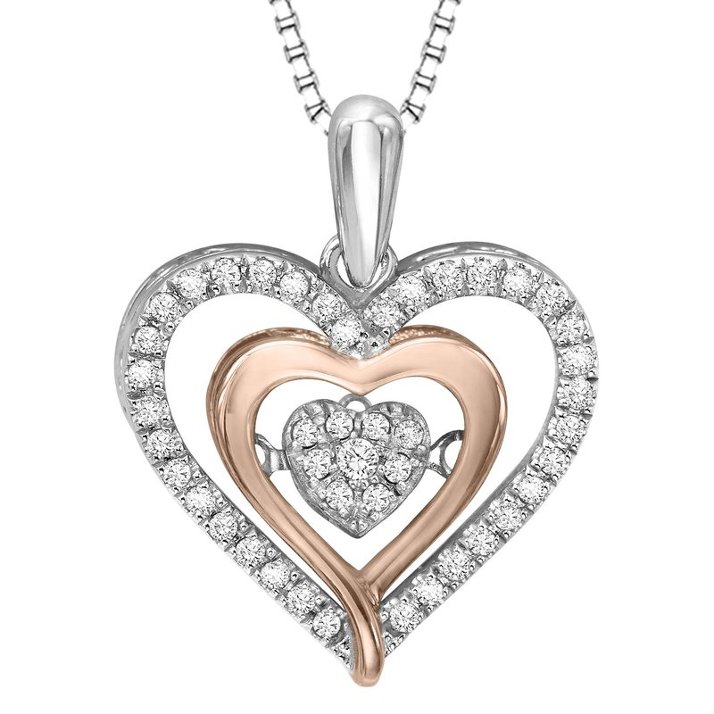 Necker's Signature Collection Silver & 10K Rose Gold Diamond Rhythm Of Love Pendant 1/5 ctw