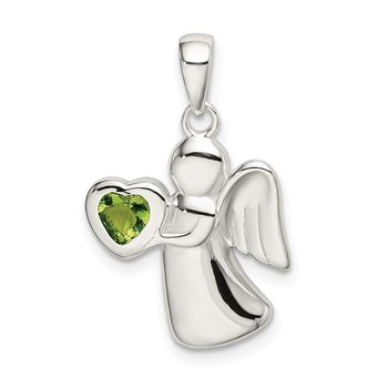 Sterling Silver Angel w/Light Green CZ Heart Pendant