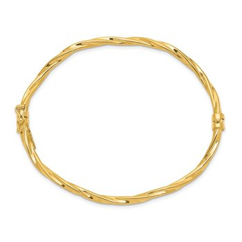 14k Polished Twisted Hinged Bangle Bracelet