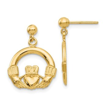 14k Dangling Claddagh Post Earrings