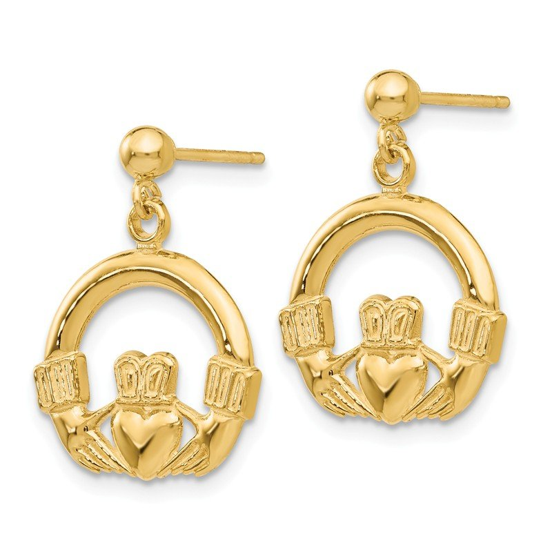 Quality Gold 14k Dangling Claddagh Post Earrings