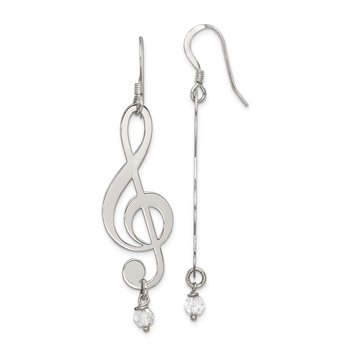 Sterling Silver Polished Music Note with Clear Crystal Dangle Earrings
