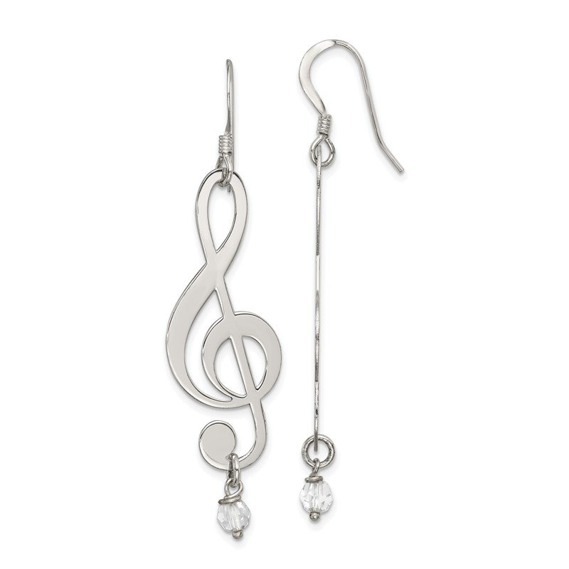 Quality Gold Sterling Silver Polished Music Note with Clear Crystal Dangle Earrings