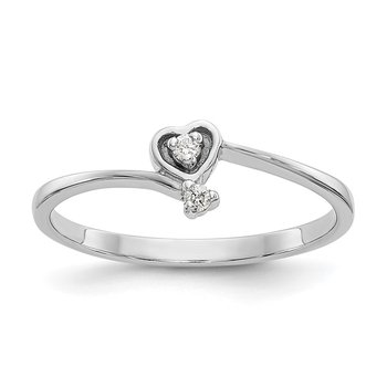 14k White Gold Polished AA Diamond heart ring