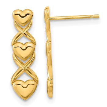 14k Polished Triple Heart & X Post Earrings