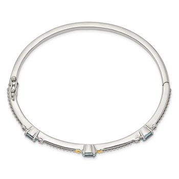 Sterling Silver w/14ky Sky Blue Topaz Bangle