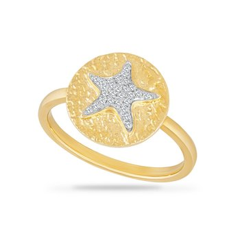 14K STARFISH RING WITH 28 DIAMONDS 0.10CT, TOP 12.7MM  DIAMETER