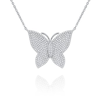 14k Gold and Diamond Large Butterfly Necklace