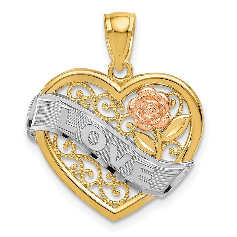 Quality Gold 14k Two-tone and Rhodium LOVE Heart Pendant