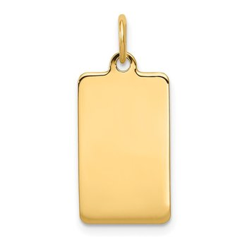 14k Plain .035 Gauge Rectangular Engravable Disc Charm
