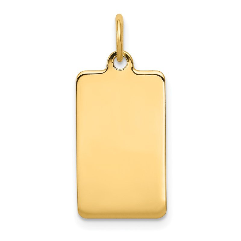 Quality Gold 14k Plain .035 Gauge Rectangular Engravable Disc Charm