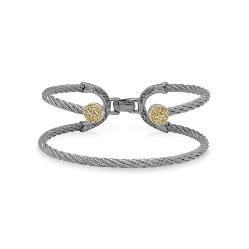 ALOR Grey Cable Balance Bracelet with 18kt Yellow Gold & Dual Round Diamond Stations
