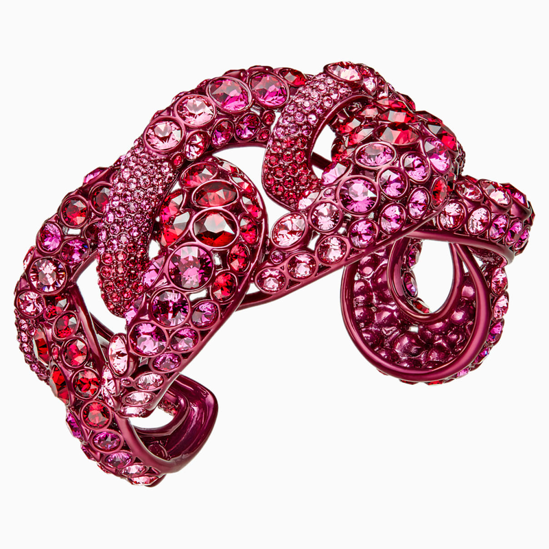 Swarovski Tabloid Cuff, Multi-colored, Pink lacquer plating