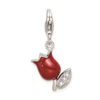 Sterling Silver RH CZ Red Enameled Tulip Flower w/Lobster Clasp Charm